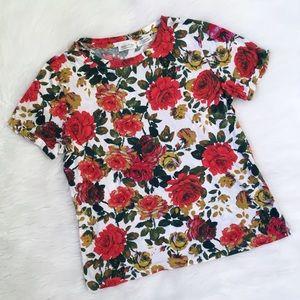 Anthropologie Meadow Rue Rose Printed Tee Shirt